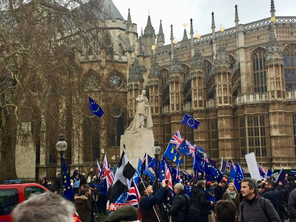 Brexit protests EU flags and Union Jacks. Photographer: Paul Dunne
