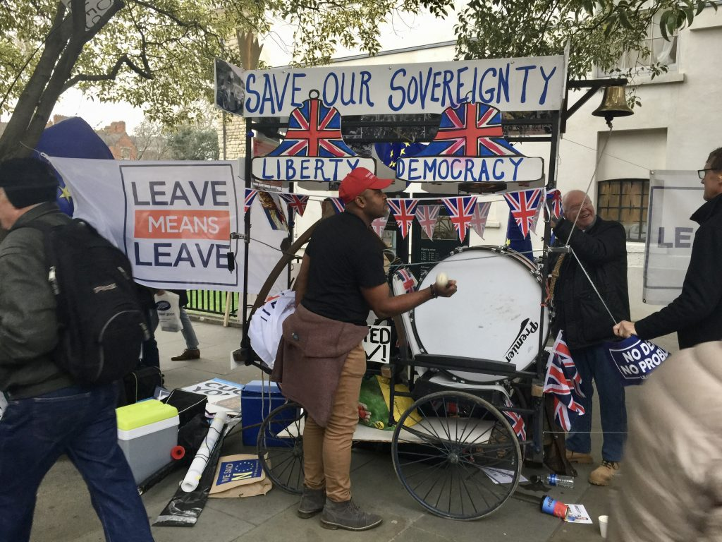 Brexit protests Signage : Save our Sovereignty, Liberty, Democracy Signage : Leave means leave Paul Dunne photographer